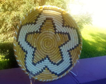 Vintage Tohono O'odham Hand Woven Basket Geometric Star Design Native American Fiber Arts Basket Weaving