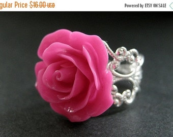 MOTHERS DAY SALE Hot Pink Rose Ring. Pink Flower Ring. Filigree Adjustable Ring. Flower Jewelry. Handmade Jewelry.
