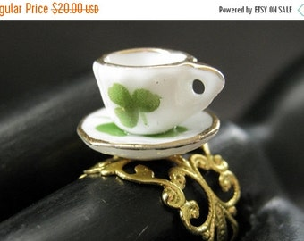 BACK to SCHOOL SALE Porcelain Teacup Ring. Green Clover Tea Cup Ring. Gold Filigree Adjustable Ring. Handmade Jewelry.