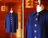 SALE / vintage 1940s coat / 40s dark blue swing coat / size medium