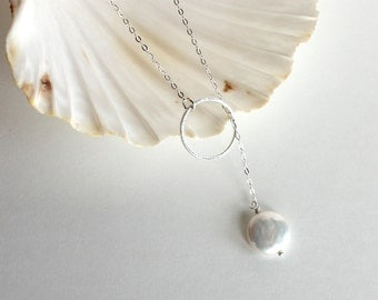 Freshwater Coin Pearl Sterling Silver Lariat Necklace - Free U.S Shipping- Valentine's Day- Wedding- Mother's Day - Anniversary -  Birthday