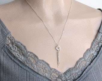 Sterling Silver Chain Tassel Necklace - Free U.S Shipping- Valentine's Day- Wedding- Mother's Day