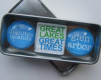 GLEN ARBOR, Up North Michigan, Leelanau, Sleeping Bear, Glen Lake, Leland, M22, Michigan, Fridge Magnets, Refrigerator Magnets, Michigan