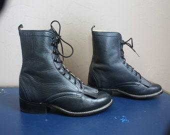 Vintage 1980s / 1990s Black Leather Laredo Lace Up Country Western Fringe Boots / Hipster Grunge