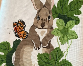 Large size stitches bunny rabbit and butterfly cross stitch sampler completed