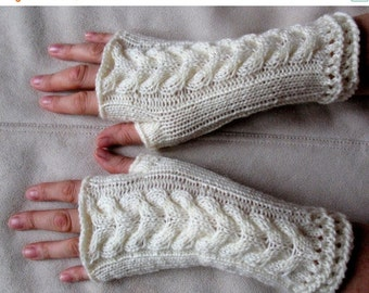 Fingerless Gloves Mittens White Arm Warmers Acrylic