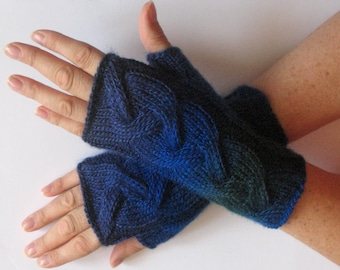 Fingerless Gloves Dark Blue Green Black Arm Warmers Knit Soft