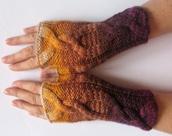Fingerless Gloves wrist warmers Violet Purple Brown Orange Beige knit
