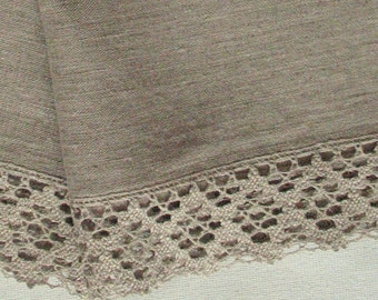 "Linen Towels Dish Towels Tea Towels Burlap Washed Christmas Holiday Natural Gray Linen Lace 18"" x 28'' set of 2"