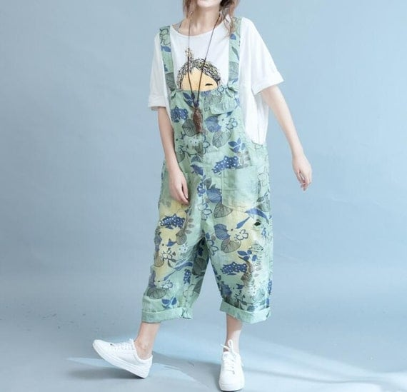 Leisure Loose Fitting Bib cotton Holes Big crotch pants