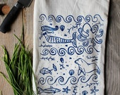 Flour Sack Tea Towel - Ocean  - Hand Printed Original illustration