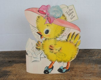 Vintage Hallmark 1948 Flocked Duck Easter Stand Up Card To A Dear Niece