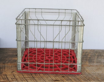Vintage Upstate Milk Wire and Red Plastic Milk Crate September 1986