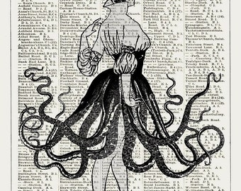 AMERICAN GIRL Giclee Print Poster Mixed Media Painting Illustration Drawing Octopus Dancing Nautical