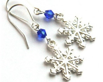Snowflake Earrings, Many Colors to Choose, Winter Fashion, Rainbow Earrings, Winter Wedding, Bridesmaids Gift Snow Ice Frost