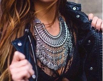 Silver Coin Collar Tribal Necklace Boho Festival Hippie UK seller
