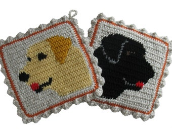 Labrador Retriever Pot Holders. Crochet, Yellow Lab and Black Labs trivet. Dog decor potholders