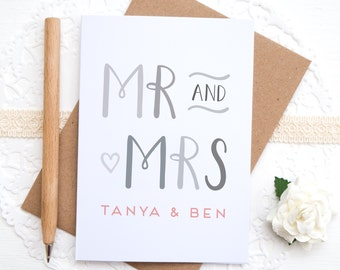 Mr and Mrs Card - Personalised Wedding card - Wedding congratulations - Bride and Groom - Engagement card