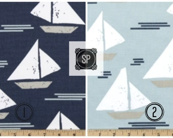 Cape May Sailboat Curtains 25 inch or 50 inch wide - 84 90 96 108 120 Long - Nautical Decor  or Grommets