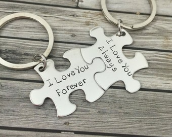 I love you always forever, Couples Keychains, Engagement gift, Wedding Gift, Puzzle piece keychains, couples gift ideas, Bridal Shower Gift