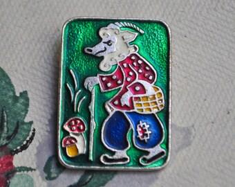"Vintage Soviet Russian aluminum badge,pin.""Russian fairy tale"""