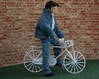 Dolls House Miniature White Bicycle ready for painting