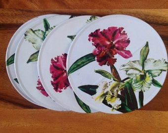 "Vintage ""Iris"" 4 pc Coaster set"