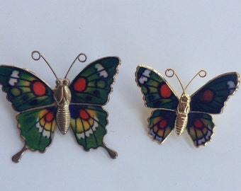 Vintage butterfly brooch pair