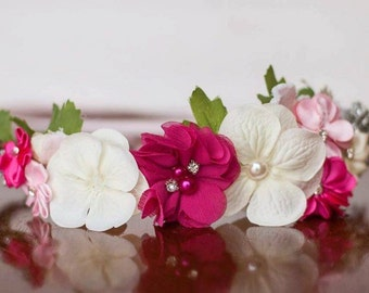 Flower Crown - Pink Flowergirl hairpiece - Summer Wedding - Newborn Photo Prop - Wedding Crown - Floral Hairpiece