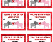 Personalized Elephant Valentines Cards Print Your Own