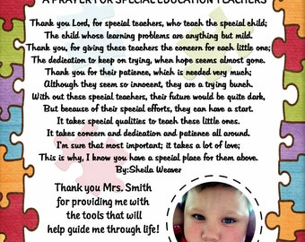 Personalized Autism Special Needs Teacher / Therapist Thank You / Appreciation Photo Poem Printable 8x10 All Proceeds Go To Autism Awareness