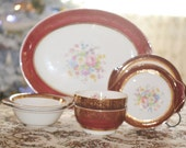 Aristocrat Century by Salem China  7 Serving Pieces Setting 23K Gold