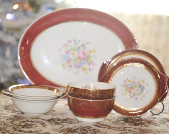 Aristocrat Century by Salem China 7 Vintage Serving Pieces Setting 23K Gold