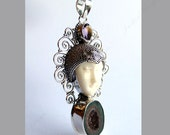 Bali Goddess Face Sterling Silver Pendant Amethyst and Druzy Stone BP84