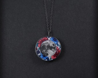 Flower MOON - silver necklace on a chain, BOHO pendant