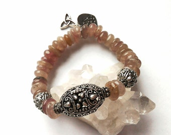 Quartz bracelet, pink quartz bracelet, filigree bracelet, charm bracelet, mystical bracelet, nugget bracelet, gemstone bracelet, gifts