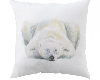 Polar Bear Pillow - Polar Bear Pillow - Bear Art - Ice Arctic Pillow - Bear Nursery - Bear Painting - Baby Boy Room Pillow Cover