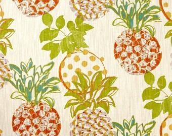 "Two 96"" x 50""  Custom Curtain Panels  -  Pineapples - Orange Yellow Green Teal"
