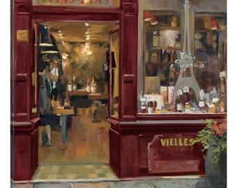 iCanvas Parisian Wine Shop Red Crop Gallery Wrapped Canvas Art Print by Marilyn Hageman