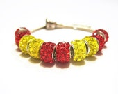 Yellow & Red Mix, Drum Rondelle, Crystal, Euro Tube Beads, Quantity 10, Beads for European Charm Bracelets, Lightweight