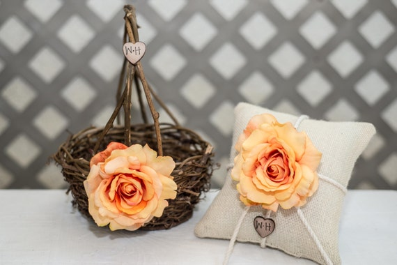 Peach Rose Twig round personalized wedding medium flower girl basket and ring bearer pillow