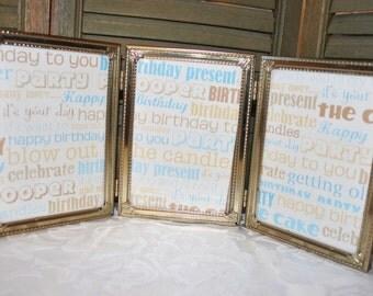 Triple Folding Picture Frame Vintage Goldtone Metal