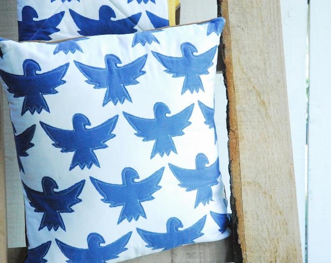 Indigo Bird Pillow Cover - Organic Cotton, Home Decor, Decorative Pillow, Accent Pillow, Bird Pillow 18 x 18