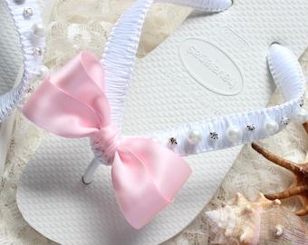 Light Pink Flip Flops wedding shower gift, Bridal shower gift, Bridal flip flops, Bridesmaids favor, wedding ceremony, wedding anniversary