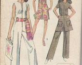 1970 Printed Sewing Pattern Simplicity 8745 misses jumpsuit and mini skirt size 8 bust 31.5