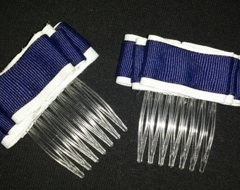 "Pair of Navy Blue and White ribbon ""Ruffles"" 2 inch hair combs"