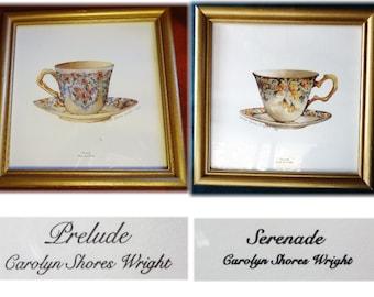 Pair of Carolyn Shoves Wright Teacup Framed Prints