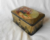Large Floral Decorative Tin  VintageConfectionery Black and Gold