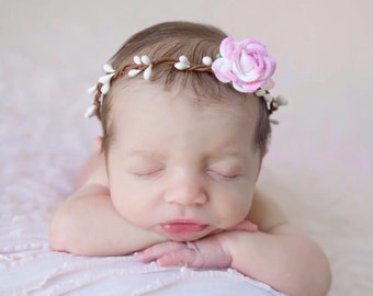 Wire Covered Halo with 4CM (1.5 inch) Pink and Cream Mulberry Rose, newborn photo shoot, bebe fotografia, baby halo by Lil Miss Sweet Pea