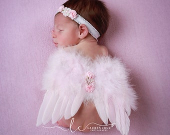 Pink or White Feather Angel Baby Wings, Matching Headband, or White Wings, photos, photographer, baby girls by Lil Miss Sweet Pea Boutique